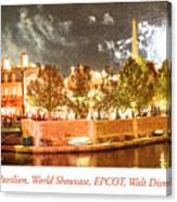 France Pavilion At Night With Fireworks, Epcot, Walt Disney Worl Canvas Print