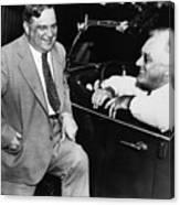 Franklin Roosevelt And Fiorello Laguardia In Hyde Park - 1938 Canvas Print