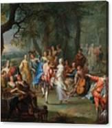 Franz Christoph Janneck Graz 1703-1761 Vienna A Dance In The Palace Gardens, Canvas Print