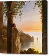 Franz Ludwig Catel  A Monk Meditating In A Cloister Canvas Print