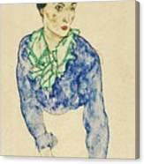 Frauenbildnis Mit Blauem Und Grunem Canvas Print