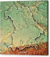 Free State Of Bavaria Germany 3d Render Topographic Map Border