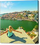 Freedom Woman At Douro River Canvas Print