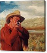 Freeze    Rifleman With Muzzle Loader Western Painting Canvas Print