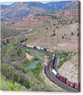 Freight Snaking Through Price Canyon Utah Canvas Print