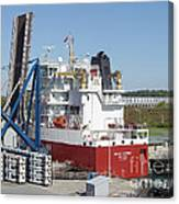 Freighter In Lock Of Saint Lawrence Canvas Print