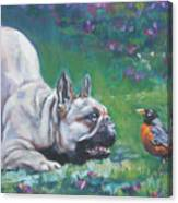 French Bulldog Meets Robin Redbreast Canvas Print