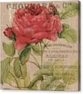 French Burlap Floral 1 Canvas Print