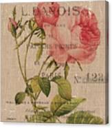 French Burlap Floral 2 Canvas Print