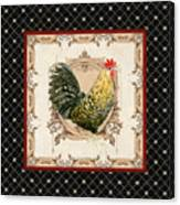 French Country Roosters Quartet Black 3 Canvas Print
