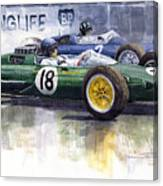 French Gp 1963 Start Lotus Vs Brm Canvas Print
