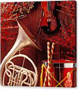 French Horn Christmas Still Life Canvas Print