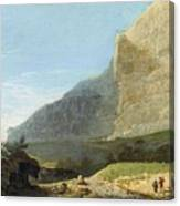 French Master 1st Half Of Th 19th Century   Rocky Cliff Off Shore Canvas Print