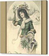 French Mother And Child Christmas Card Canvas Print
