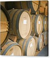 French Oak Barrels Of Wine At Midnight Canvas Print