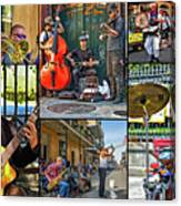 French Quarter Musicians Collage Canvas Print