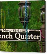 French Quarter Sign Canvas Print