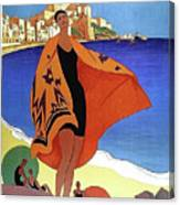 French Riviera, Woman On The Beach, Paris, Lyon, Mediterranean Railway Canvas Print