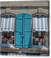 Shuttered Windows And Flowers Canvas Print