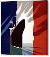 French Shipping Line Poster Canvas Print