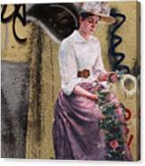 Frescoe Painting Of A Woman In Traditional Dress With Flowers Am Canvas Print