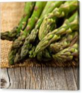 Fresh Asparagus On Napkin And Rustic Wood  Canvas Print