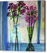 Fresh Cut Flowers In The Window Canvas Print