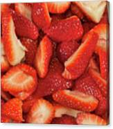 Fresh Cut Strawberries Canvas Print