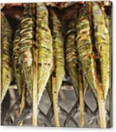 Fresh Grilled Asian Fish In Kep Market Cambodia Canvas Print