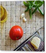 Fresh Italian Cooking Ingredients On Tile Canvas Print