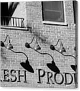 Fresh Produce Signage Black And White Canvas Print