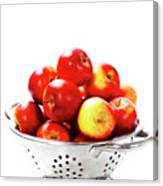 Fresh Red Apples In Metal Colander Canvas Print