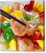 Fresh Shrimp And Peppers On White Serving Plate Ready To Eat Canvas Print