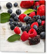Freshly Picked Berries On Rustic White Wooden Boards Canvas Print