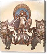 Freya And Her Cat Chariot-nude Version Canvas Print