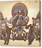 Freya Driving Her Cat Chariot - Triptic Garbed Version Canvas Print