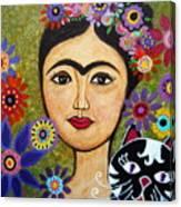 Frida Kahlo And Cat Canvas Print