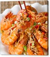 Fried Bread Coated Shrimp And Garnishes On White Serving Plate R Canvas Print