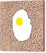 Fried Egg And Spaghetti In Tomato Sauce Canvas Print
