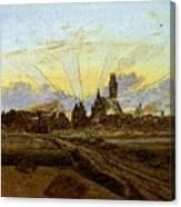 Friedrich Caspar David Neubrandenburg In Flames Canvas Print