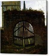 Friedrich Caspar David The Cemetery Gate Canvas Print