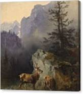Friedrich Gauermann  Red Deer At The Watering Hole Canvas Print