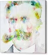 Friedrich Nietzsche - Watercolor Portrait.7 Canvas Print