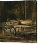 Friedrich Voltz 1817 Nordlingen   Munich 1886 Forest Clearing At A Pond Canvas Print