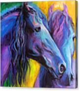Friesian Horses Painting Canvas Print