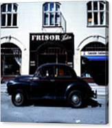 Frisor And Black Car  Copenhagen Denmark Canvas Print