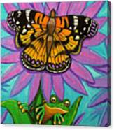 Frog And Butterfly Canvas Print