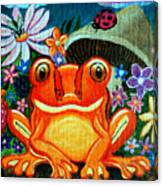 Frog And Flowers Canvas Print