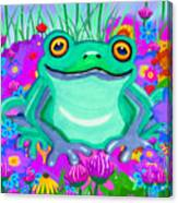 Frog And Spring Flowers Canvas Print