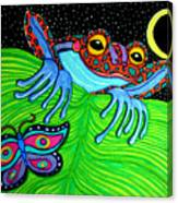 Frog Moon And Butterfly Canvas Print